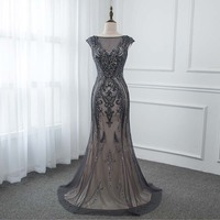 Classic Black Crystals Long Evening Dresses Mermaid Tulle Evening Gown Formal Dress YQLNNE