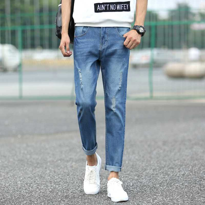 #1410 Summer Skinny jeans men 2016 Thin Ripped jeans for men Fashion Ankle-length denim jeans Slim mens jeans Distressed