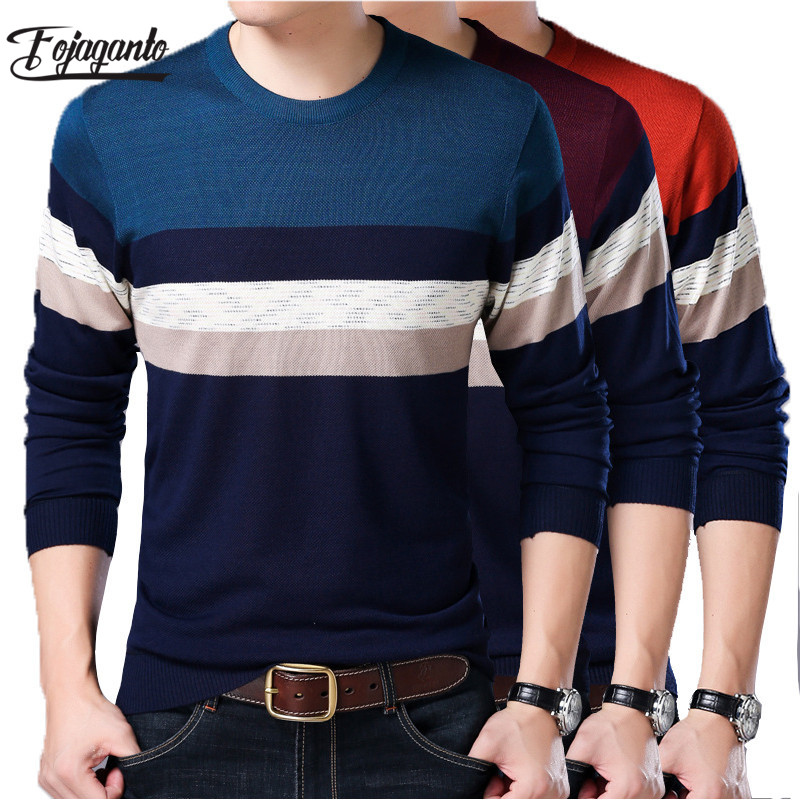 Fojaganto Brand Men Sweater 2019 Autumn Solid Color Stitching Sweaters Men's Fashion Pullover Male Sweater