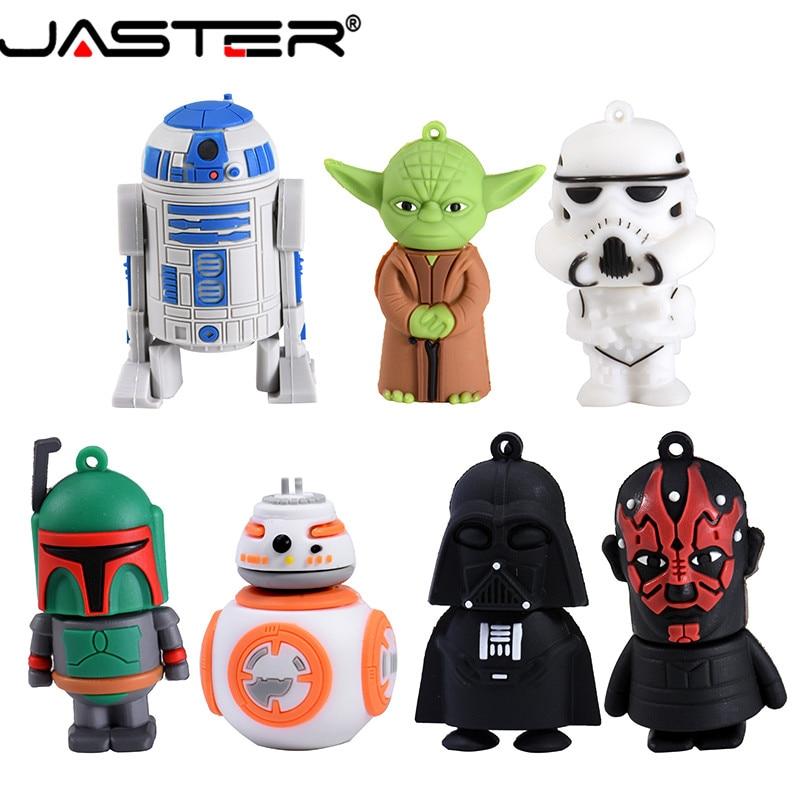 JASTER Star Wars Pendrive Series R2D2 BB-8 Robot USB Flash Drive YODA Darth Vader Memory Sticks Pen Drives 64GB 8GB 16GB 32GB