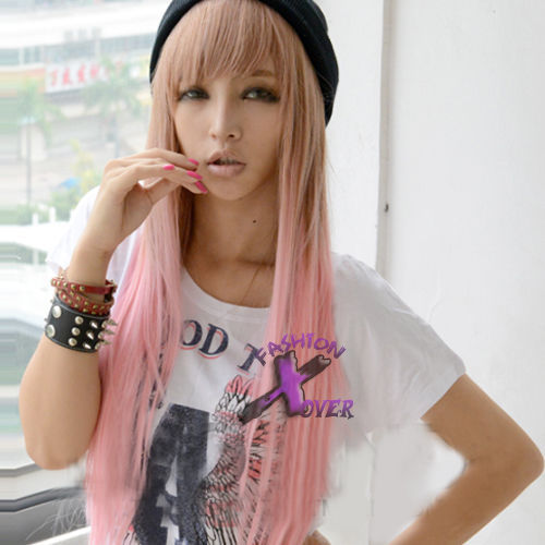 Constructive Free Ship>>> Long Straight Pink Mixed Brown 80cm Lolita Fashion Wig Easy To Lubricate