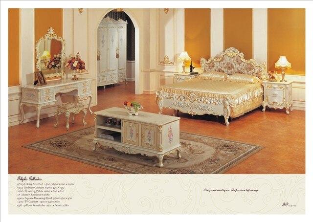Classic bedroom furniture solid wood hand carved bedroom set Free