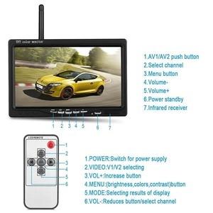 """Image 2 - Podofo 12V 24V Wireless 7 """"HD TFT LCD veicolo Backup telecamera posteriore Monitor + caricabatteria per auto per camion Bus camper rimorchio escavatore"""