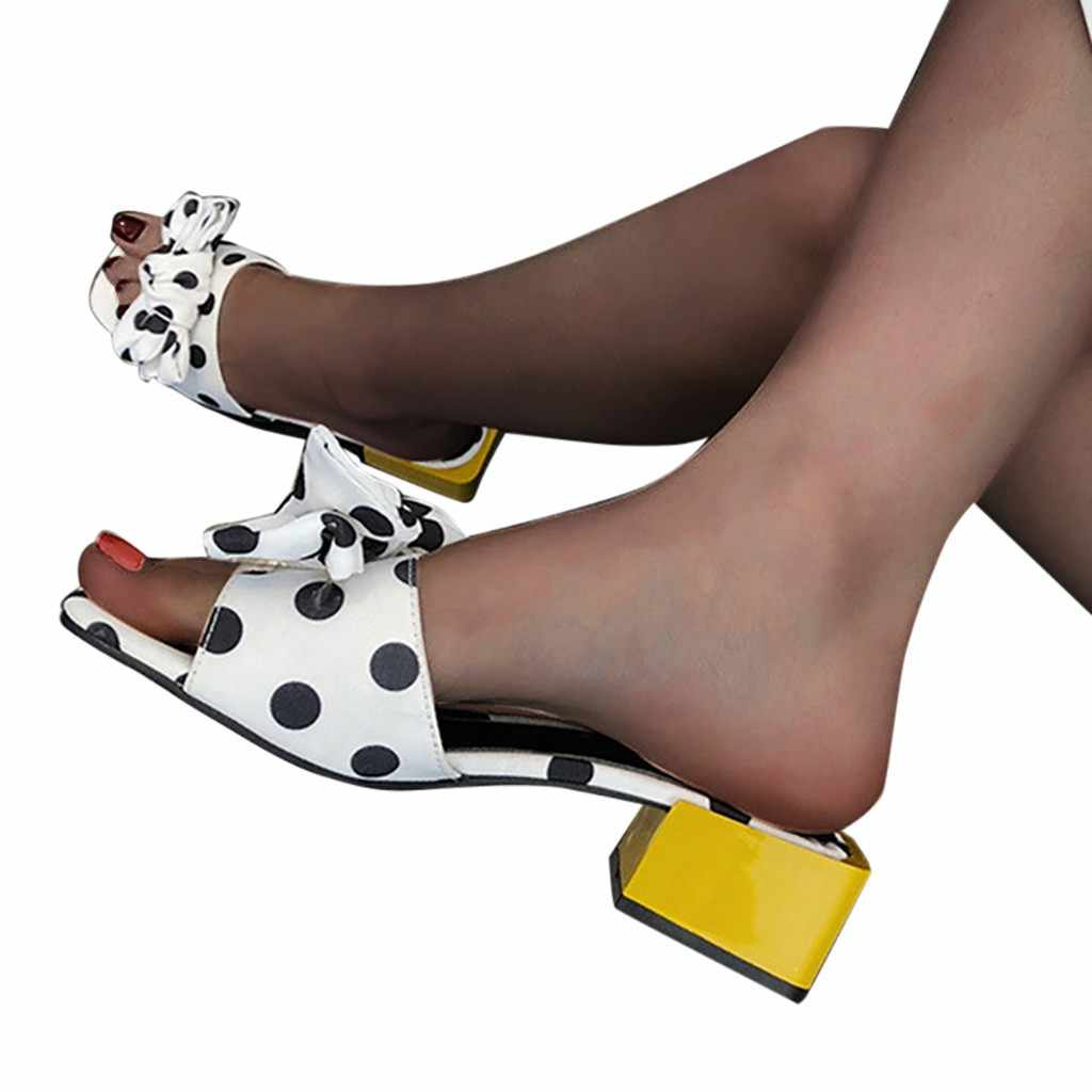 SAGACE sandales femme chaussures nœud à pois décoratif pantoufle tendance sans lacet talon moyen noir mignon mode sandales femmes chaussures d'été