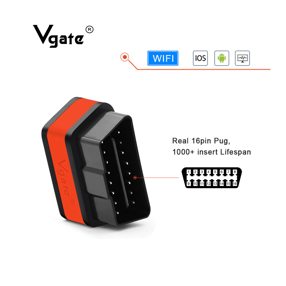 Vgate iCar2 Diagnostic tool ELM327 obd2 WIFI scanner for IOS iPhone/Android/PC elm 327 V2.1 OBD2 wifi  auto diagnostic tool scan on