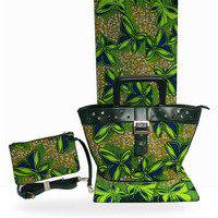 Most popular 3pcs/set African green design veritable batik cotton wax fabric(6yards/lot) matching handbag and purse set FB12 3
