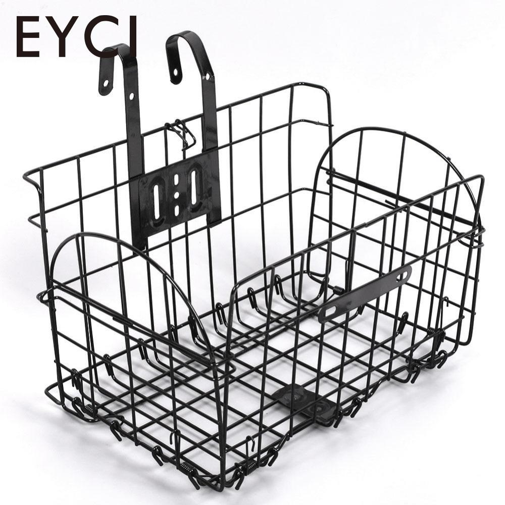 Foldable metal wire basket for bicycle front bag rear hanging bike