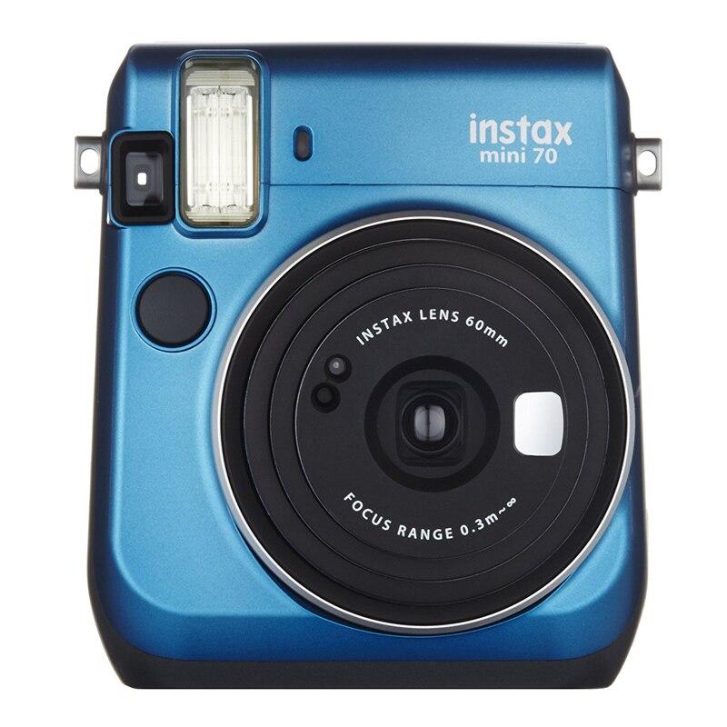 Fujifilm Instax Mini 70 Instant Film Camera Blue with stylish shoulder strap + Fuji 100 Instant film Photo Picture