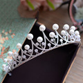 luxury aaa zircon tiaras tiara wedding hair accessories bridal jewelry vintage pearl crowns crown 643
