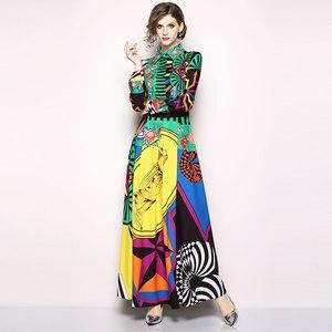 Image 5 - Borisovich מסלול מקסי שמלה חדש 2018 סתיו אופנה הדפסת בציר תורו למטה צווארון אלגנטי Slim נשים המפלגה ארוכה שמלות m659