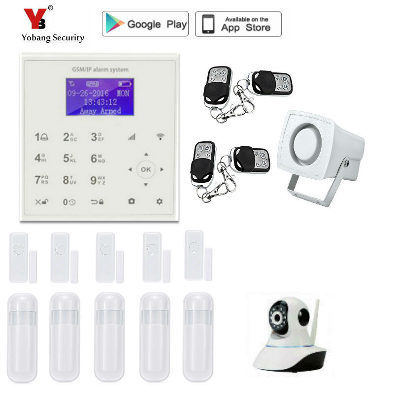 Yobang Security wireless wifi gsm alarm system TFT display door sensor home security alarm systems Wired Siren Kit metal remote control home security gsm alarm systems voice prompt wireless door sensor lcd display wired siren kit sim sms alarm