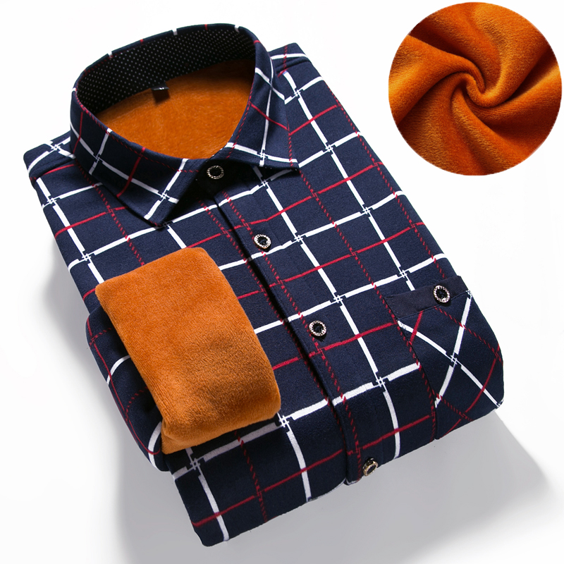 Men's Winter Long Sleeve Plaid Flannel Fur Lined Thick Work Shirts  Fleece Warm Long Sleeve Shirt For Men Dress Shirts