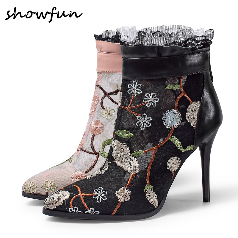 Womens genuine leather cmesh patchwork Embroidery flower back zip ankle boots brand designer Flounced short booties shoes 42