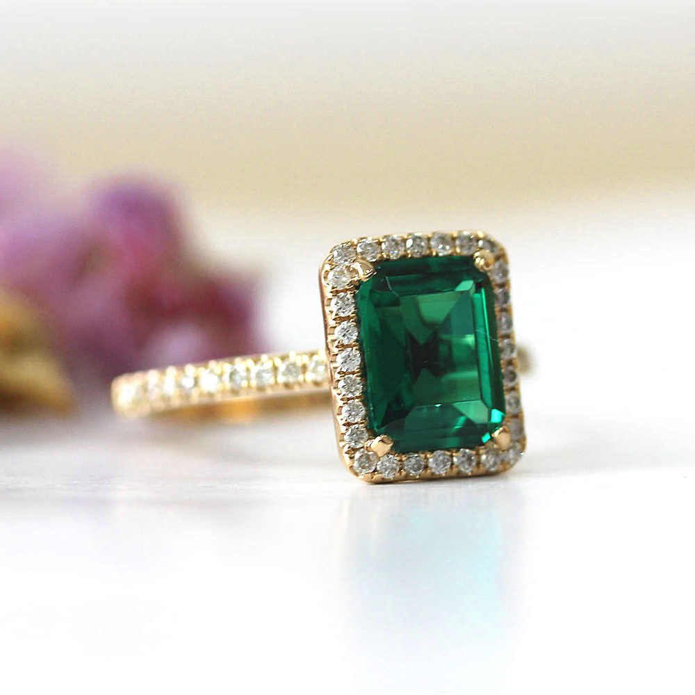 14k สีเหลืองทอง 2.7ct กะรัตมรกตตัดหมั้นงานแต่งงานแหวนสีเขียว Moissanite แหวนเพชรชุดทดสอบบวก