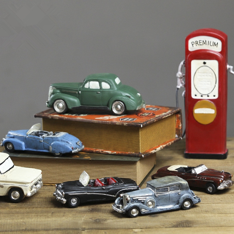 Creative vintage car models resin crafts retro cars ornaments modern ...