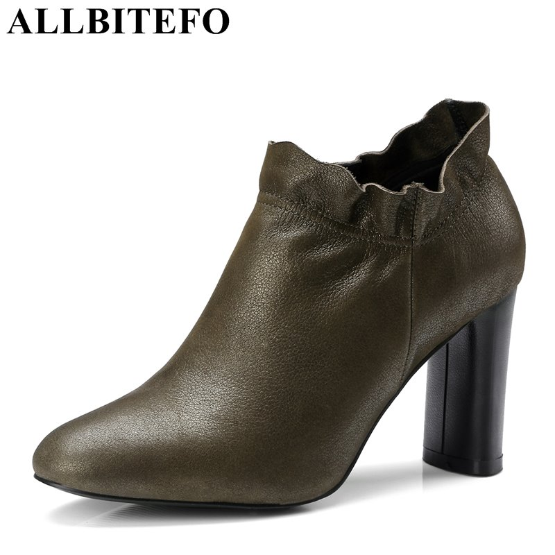 ALLBITEFO fashion brand genuine leather ruffles women party shoes thick heel office girls high heel shoes high heels size 33-43 allbitefo fashion retro genuine leather pointed toe thick heel women boots ruffles high heels party shoes girls boots size 33 43
