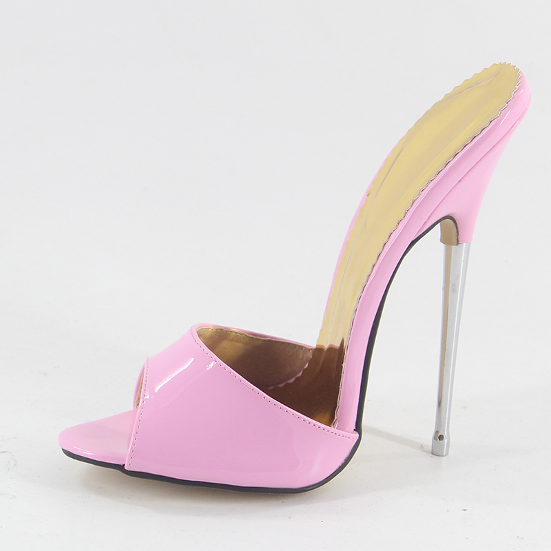 Newest super high heel slippers women 16cm stiletto heel pink patent Sexy High Heel sandals slip on Nightclub shoes peep toe цена