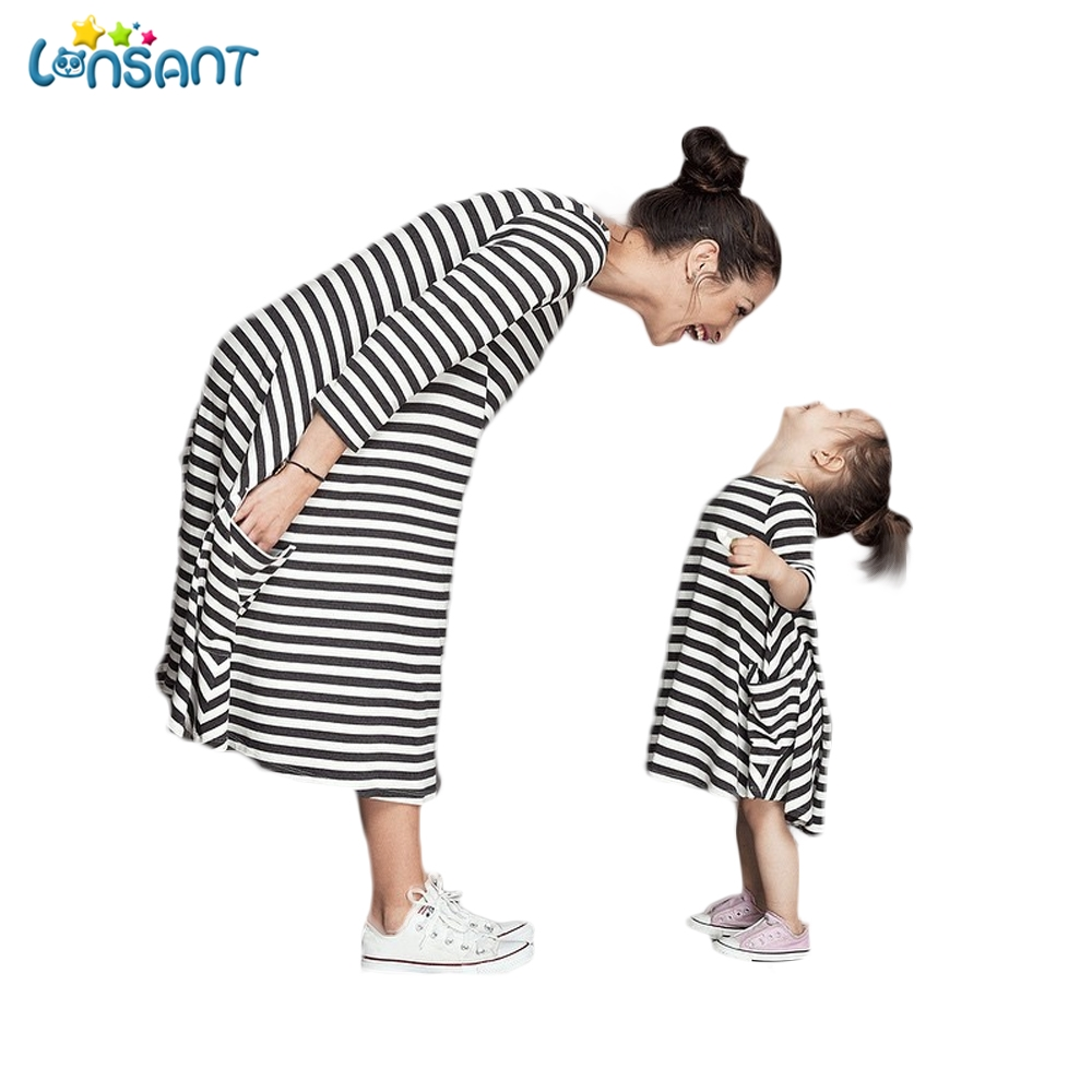 LONSANT Mom Mother and Daughter Dresses Family Matching Clothes Look Outfits madre e hija ropa  Stripe Summer Dress Dropshipping