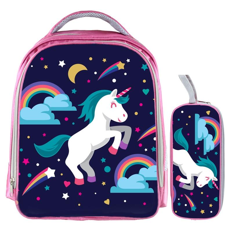13 Zoll Kawaii Einhorn Rucksack Regenbogen Pferd Rucksack Kinder Schule Taschen Für Mädchen Baby Kindergarten Kind Taschen Bleistift Tasche Sets
