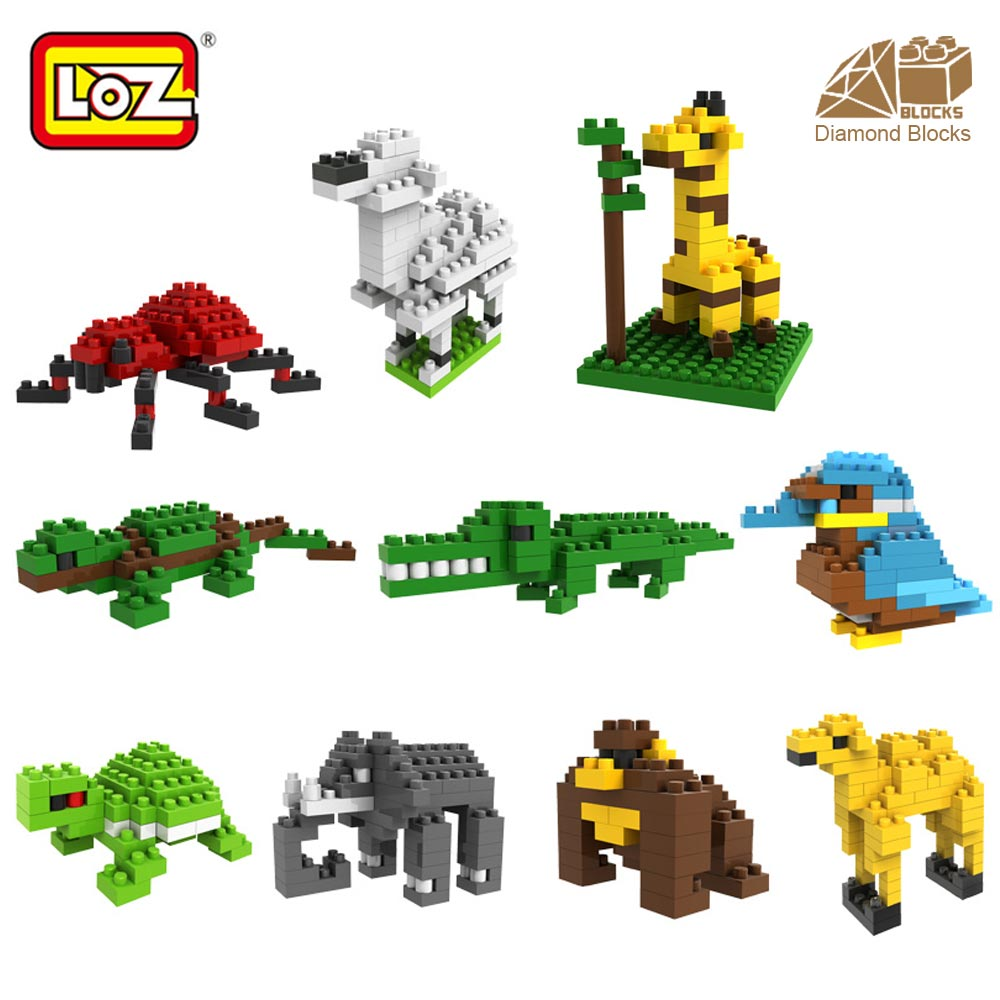 LOZ Diamond Blocks Plastic Zoo Animal Figure Toys for Children Micro Building Blocks Pixels Bricks Kids Assembly Toy Educational