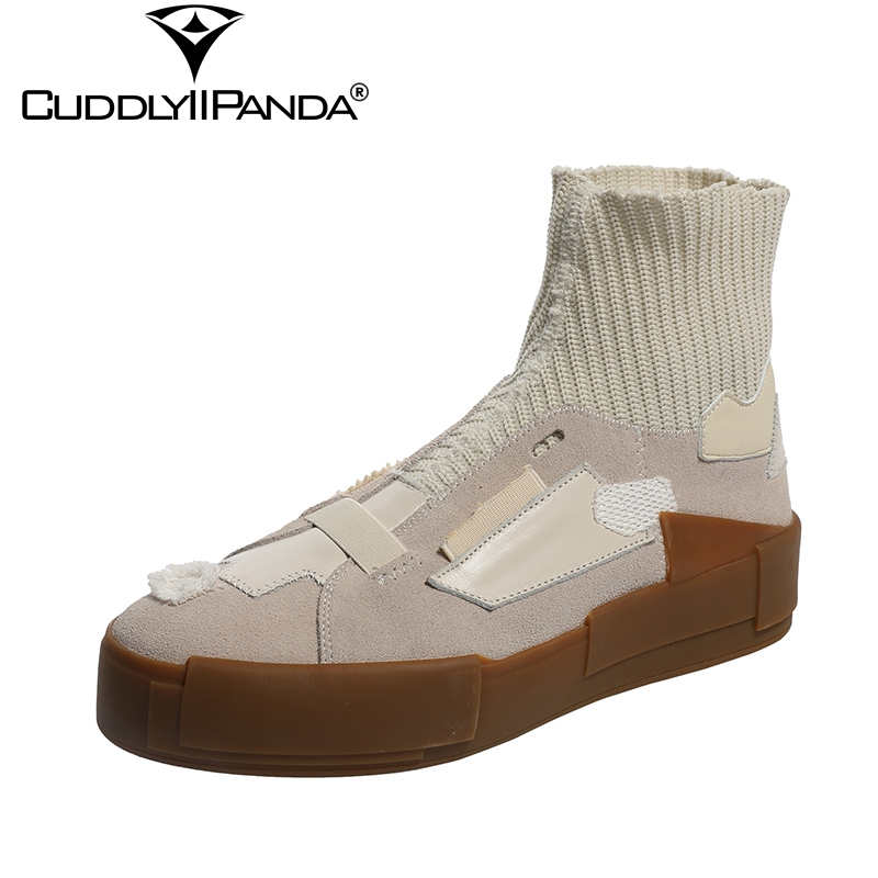 CuddlyIIPanda 2018 Autumn Vintage Design Women Ankle Boots Old Patchwork Stretchable Cloth Shoes Nubuck Leather Platform Boots