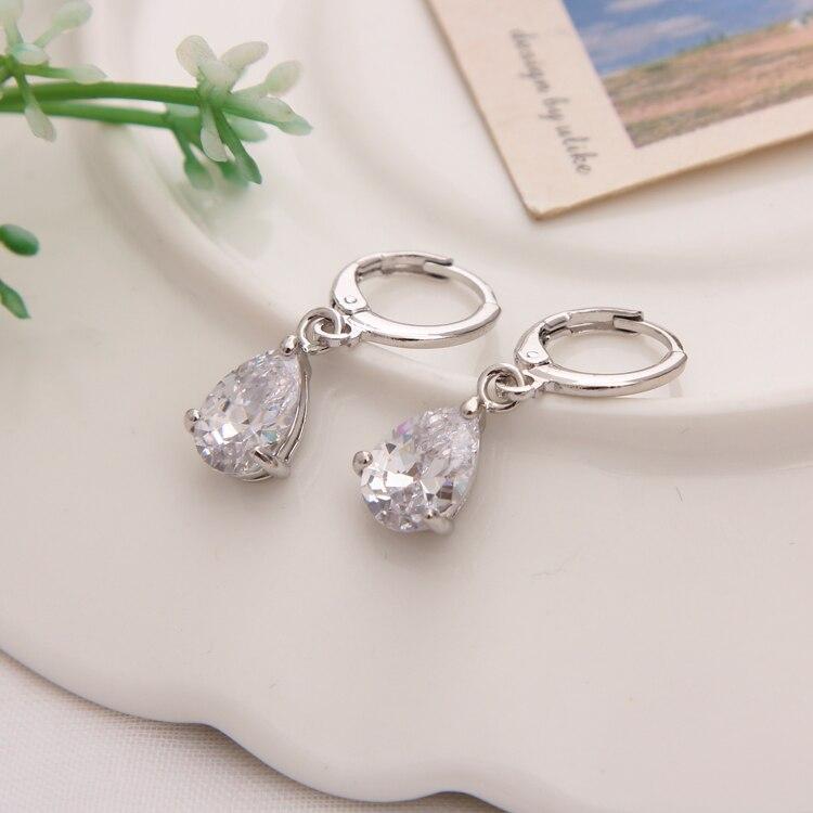 Gold Color Earrings Green Water Drop CZ Stone Pierced Dangle Earrings Women/Girls Long Drop Earrings fashion jewelry 23