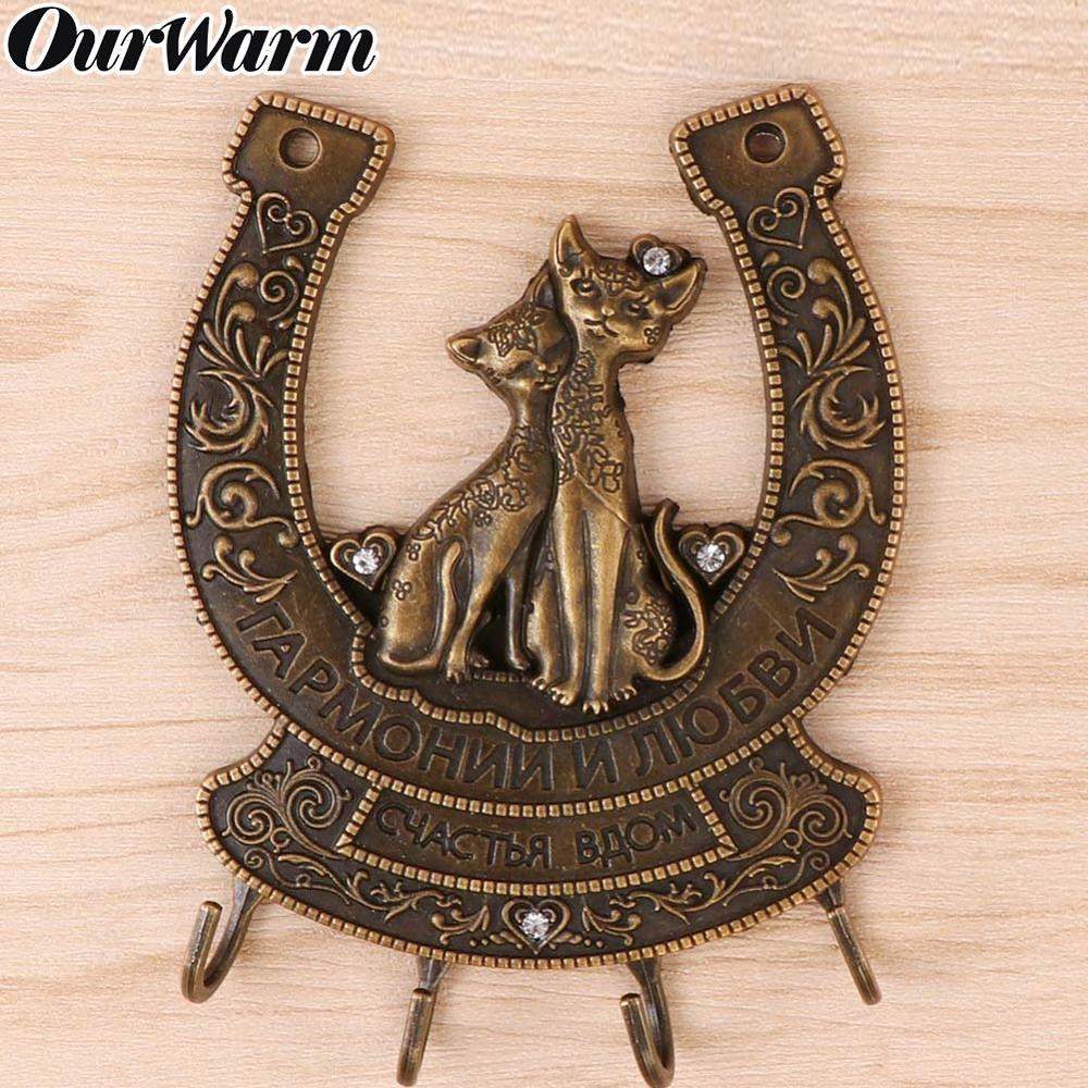 OurWarm Vintage Metal Horseshoe Souvenirs Clerk on the Wall Hangers Clothes Key Hook Cat Hanger Russian Wedding Decoration