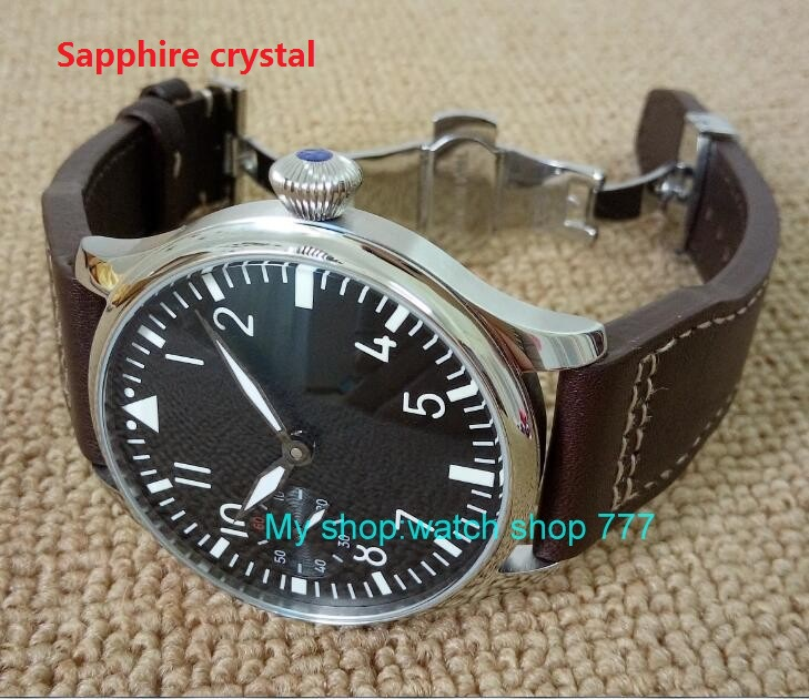 Butterfly buckle Sapphire crystal 2017 new fashion 44mm PARNIS pilot 6497 Mechanical Hand Wind movement men