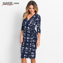 KaigeNina New Fashion Hot Sale Women Flower Natural Simple Printing Cloth V-Neck Mid-Calf knitting cotton Dress 18003