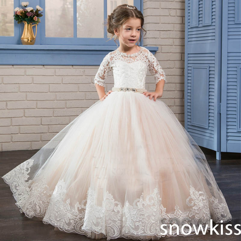 White/Ivory first communion dress with lace appliques beaded open back tulle ball gown little kids pageant prom dresses