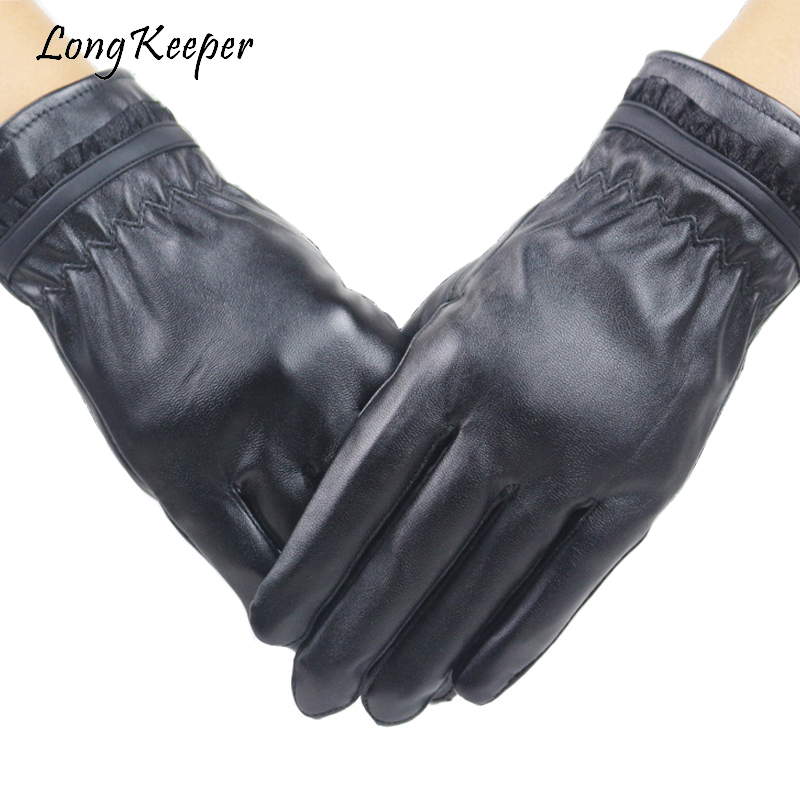 Long Keeper Hot Sale Women PU Leather Gloves For Winter Keep Warm Long Finger luvas Touch Screen Ladies Elegant Gloves G273