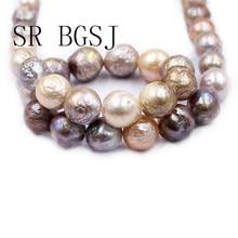 "Envío Gratis 12 14mm Reborn Edsion Natural oro variado Color agua dulce casi perlas redondas artesanía hebra 15"""