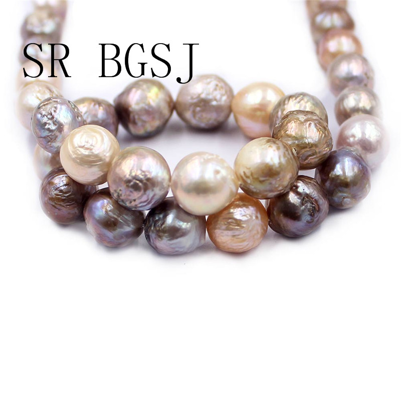 Free Shipping 12-14mm Reborn Edsion Natural Mixed Gold Color Freshwater Nearly Round Pearl Craft Beads Strand 15""