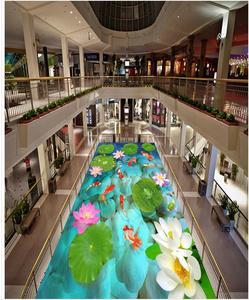 3D estereoscópico lotus fish floor Videos foto personalizada autoadhesiva 3D piso foto papel tapiz mural piso 3d pegatinas