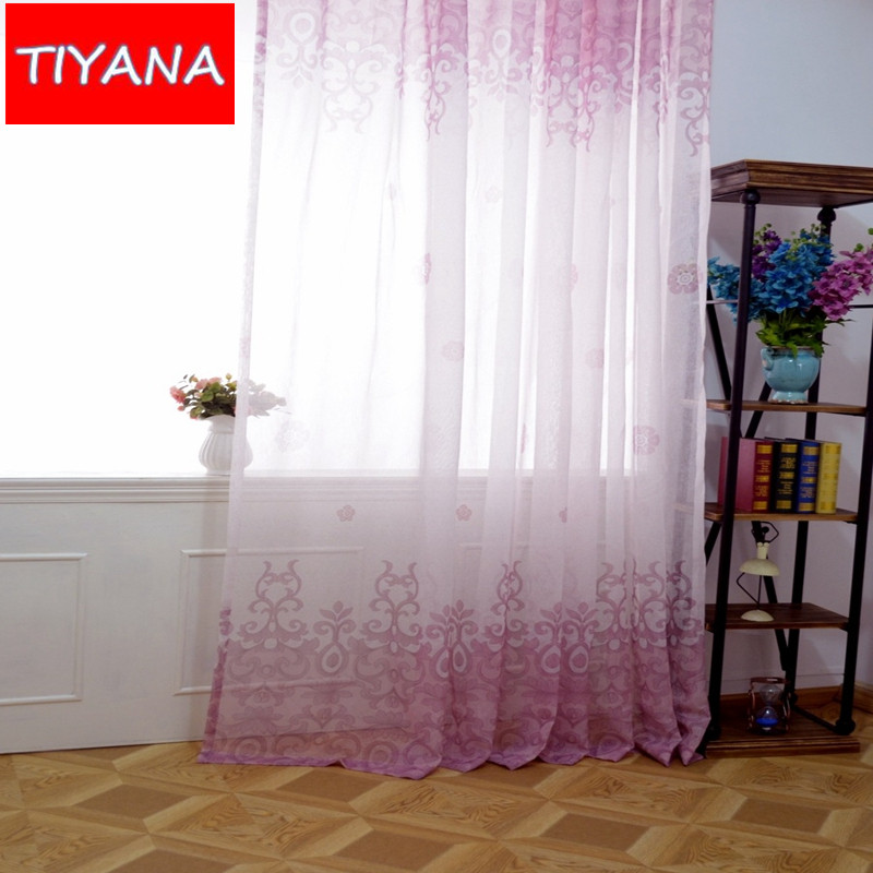 hot sheer curtain floral printing design window tulle for living room kitchen customized blind yarn for