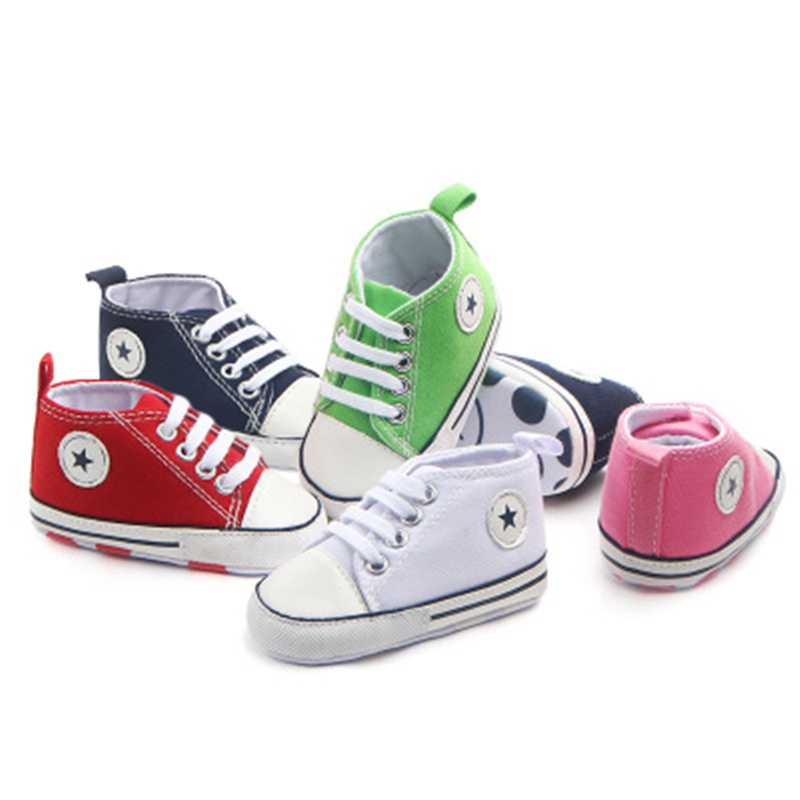 2019 Spring Autumn Canvas Toddler Baby Shoes Girls Boys First Walkers Baby SneakersLace Newborn Baby Moccasins Crib Shoes