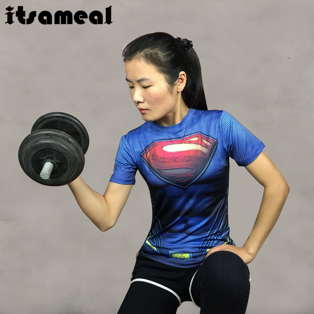 Itsameal Compression 3D Printed T shirts Women Slim Short Sleeve Captain America Spiderman Costumes for Ladies