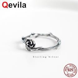 Qevila новые модные кольца ювелирные украшения Настоящее серебро 925 проба Свадебные Обручение кольца подарок розы регулируемое кольцо для