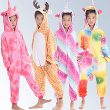 Купить с кэшбэком Girl Boy New Christmas Pajamas Animals Pegasus Unicorn Children Pajamas Onesies Winter Children's Pajamas 4 6 8 10 12 Year