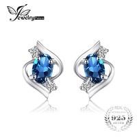JewelryPalace Ovale 1.1ct Naturale London Blue Topaz Orecchini 925 Monili D'argento Della Pietra Preziosa Orecchini Donne 2016 di Tendenza