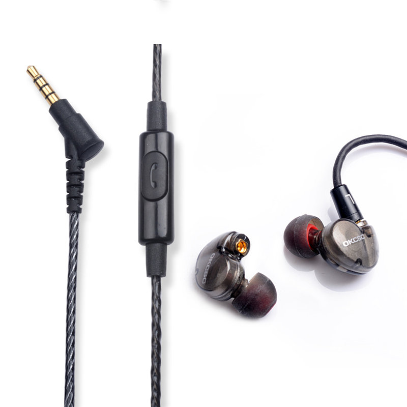 Newest 2017 OKCSC DD3 Hifi Hybrid Dynamic 1BA+1DD In Ear Earphones MMCX Sports Earphone With Microphone fone de ouvido new senfer xba 6in1 2ba 1dd in ear earphone hybrid 3 driver unit hifi earplhones with mmcx interface free shipping
