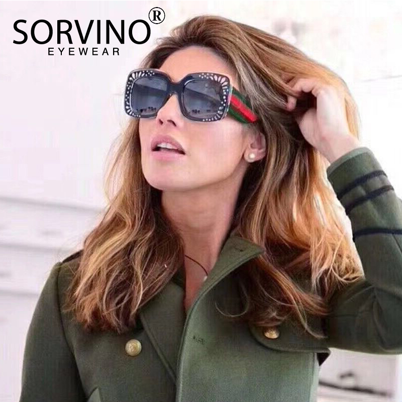 SORVINO Rhinestone Flower Square Sunglasses Womens 2018 Luxury Brand Designer Retro Cool Lady Stripe Sun Glasses Big Shades SP67