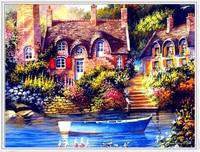 DIY Diamond Painting Resin Square Full Embroidery Scenery Series Dream Village Living Room Household Decoration European 65*50cm