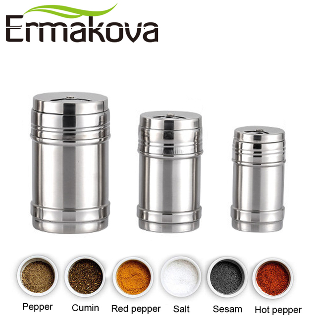 Ermakova 3 Pcsset Stainless Steel Salt And Pepper Shakers Spice
