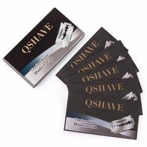 "Image 4 - Qshave זה בטיחות תער להב ישר תער טיטניום להב כפול קצה קלאסי בטיחות תער להב תוצרת ארה""ב, 100 להבים"