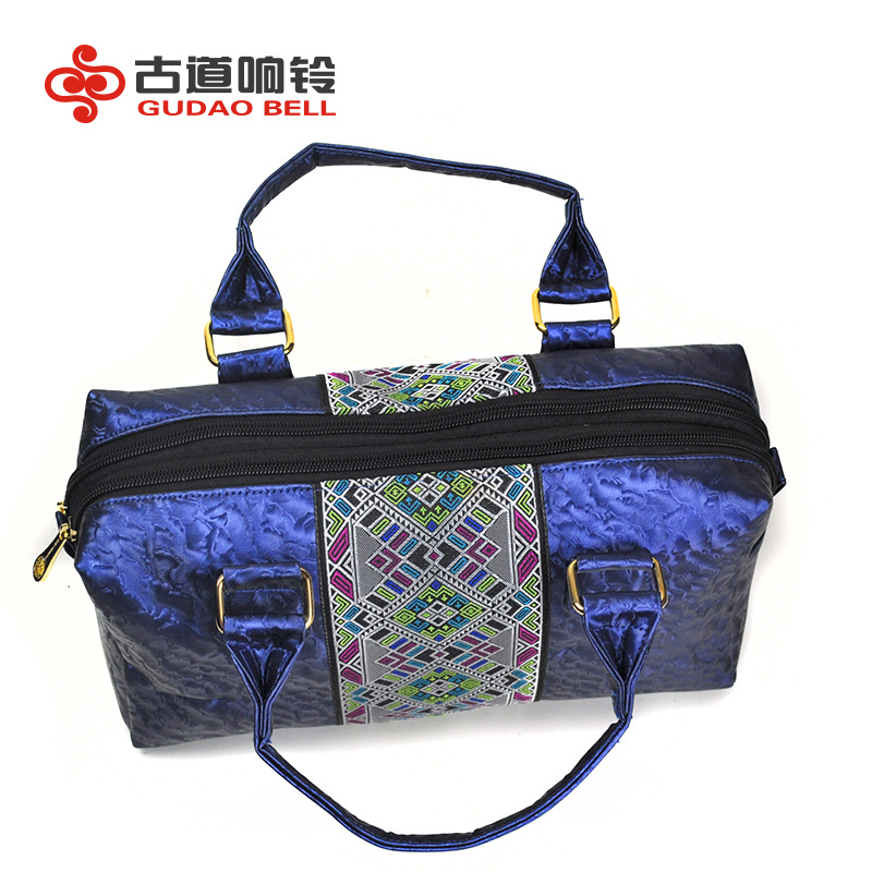 Women S Zipper Handbags For Glamor Ethnic Embroidery Embroidered Totes Bags Pu Leather Bright Blue Bag Stand By Drop Shipping In Top Handle From