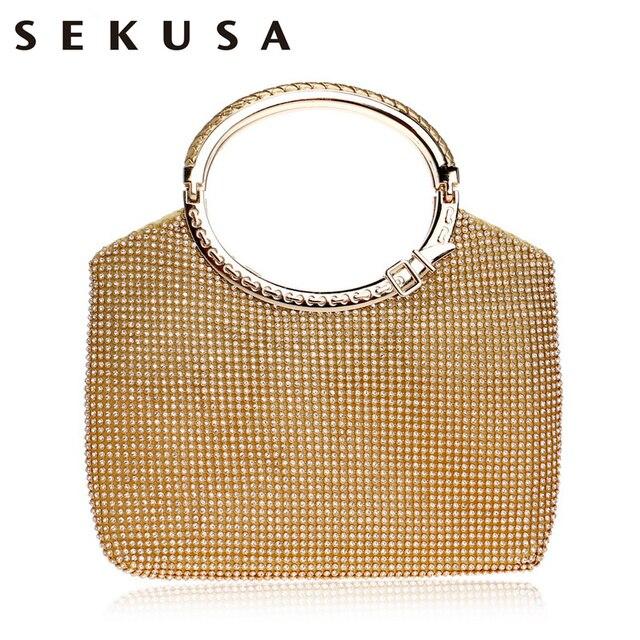 bfb1601cb14e Sekusa Новый Ведро Форме Стразы Для женщин Вечерние сумки  Золото/серебристого металла вязаная мода клатч