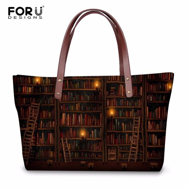 d3787c327b FORUDESIGNS Vintage Women Casual Messenger Bags Handbags Cute Book Shelf  Sleepy Kitty Cat Pattern Ladies Large Beach Tote Bags