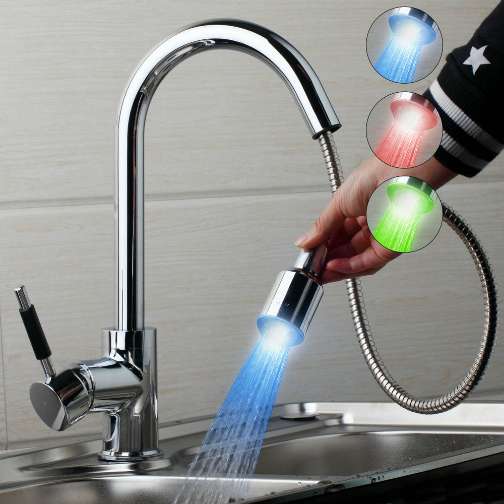 Chrome Brass LED Swivel Faucet kitchen sink Mixer Tap Great pull out With spray button JN8526