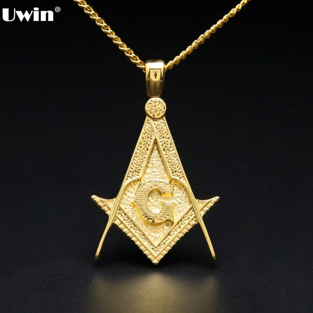 Vintage Masonic Symbol Pendant Necklace Goldsilver Plated Stainless